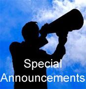 Megaphone with Words Special Announcements