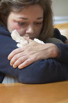 Depression Woman with Kleenex